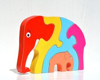 Elephant wooden toy, Wooden puzzle, Wood developmental baby toy, Wooden animal family, Waldorf wood toy, Wood baby gift, Toddler organic toy