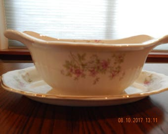 Federal State Syracuse China/Stansbury, Made in USA, Vintage, Bone Colored China with Pink Flowers-Gravy Boat with attached  underplate