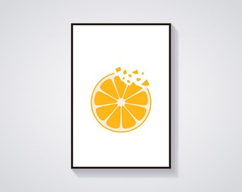 "Printable Art ""Orange Crunch"" Minimalistic Fruit Art Print"