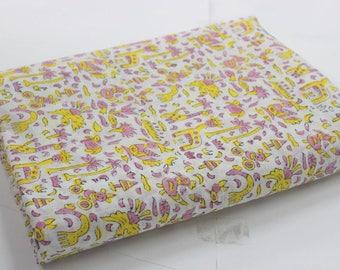 Hand Blok print cotton voile fabric  little animalprinted 5 yard fabric handmade natural dyed eco friendly