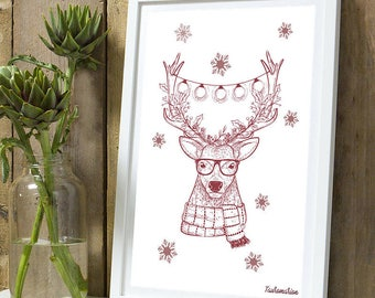 Christmas * Reindeer A4 poster without frame