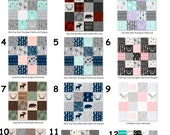 Designer Patchwork Minky - Bear Minky - Woodlands Fabric- Fabric by the Yard - Faux Quilt Minky - Cheater Quilt -