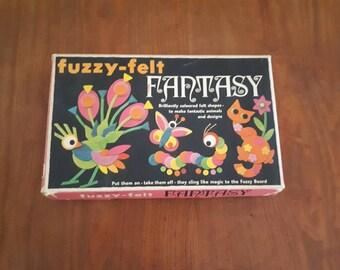 Vintage Fuzzy Felt Fantasy Boxes Set