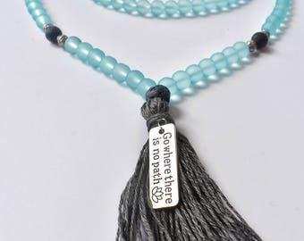 Frosted Blue Glass Zen Mala Beads with Black Diffusing Lava Stones