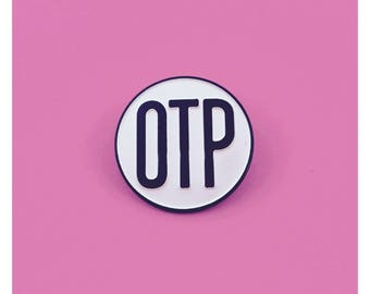 OTP Fandom One True Pairing Black & White Enamel Pin Ship Shipping  LGBTQ Queer TV Shows Lesbian Gay Girls Trash Pride Queer Fan Fiction
