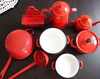 8 red vintage kitchen utensils