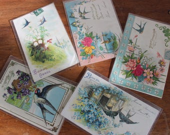 A set of 5 Postal cards of greeting lucky swallow