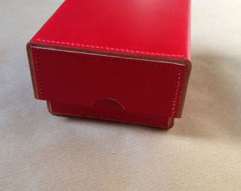 Square Red Leather Box