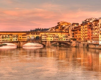 Ponte Vecchio at sunset - Florence - Tuscany - Art - Bridge - Sunset - Photo - Photography