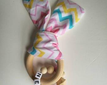 Personalised pink teething ring / teething toy / personalised teether / baby name gift / teething ring / personalised baby gift / bunny ring
