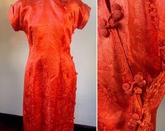 Asian style dress, cheongsam dress, orange dress, 50's Asian dress, 50's wiggle dress, wedding guest dress, statement dress, size 6 dress