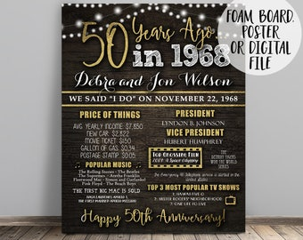 50th Anniversary Sign, 50th Birthday Sign, 50 Years Ago, Anniversary Poster, Birthday Poster, 50th Anniversary Gift, 50th Birthday Gift