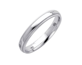 14K Solid White Gold Comfort Fit Milgrain Wedding Band Ring 3.0mm Size 4-12 - Polished