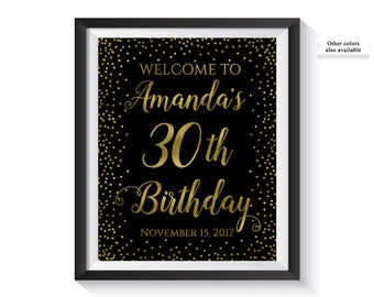 Welcome To Birthday Party Sign, Personalized Birthday Welcome Sign, Black and Gold confetti Birthday Decor, Custom, Decorations, Printable