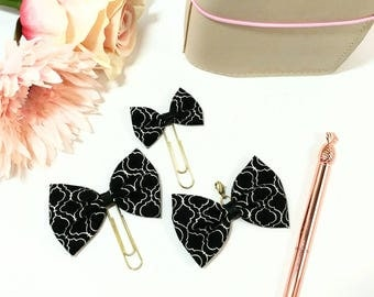 Black Vintage Fabric Bow Planner Clips and Charms