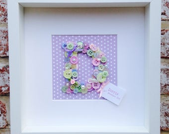 Girl's button letter frame