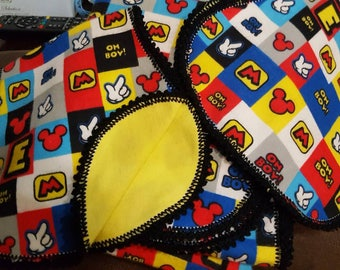 Mickey Mouse baby blanket and 2 burp cloths set with crocheted edging