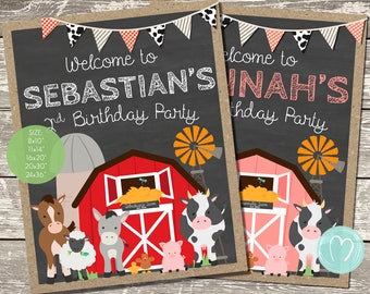 Farm Birthday Welcome Sign/Farm Animals/Barnyard Birthday Party/Custom Welcome Sign/DIY Party/Cow/Old Macdonald/Chalkboard Welcome Sign