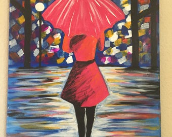 Original Artwork Girl with Umbrella •  Girl in the Rain Painting • Painting of Girl at Night