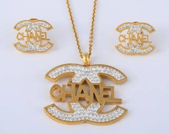 Designer Inspired CC Gold Necklace/Pendant Earrings Set 2