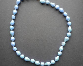 Iridescent pale blue vintage beaded necklace