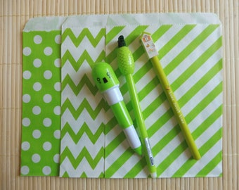Paper bags 10 piece set Middy BItty Chevron green 3 patterns listed here