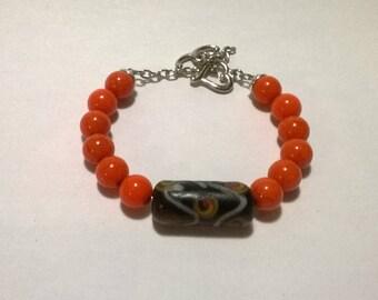 African Orange and Black Bracelet