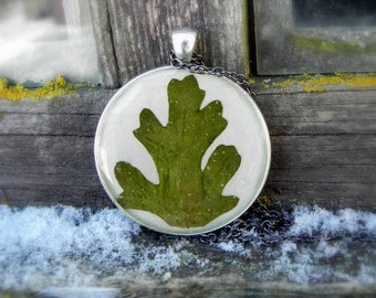 Pressed fern epoxy resin necklace, Spring mens pendant, Nature inspired terrarium jewelry, Gardening gift, Nature lover, woodland themed