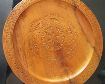 "Vintage Carved Wooden Plate, 8.5"" diameter"
