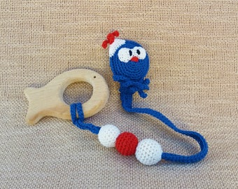 Octopus pacifier clip with fish teething toy/octopus dummy chain/fish teether toy/octopus soother clip/octopus dummy clip/wood fish teether