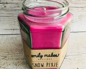 Snow Pixie (Lush Inspired) Scented Soy Wax 'Original Jam Jar Candle' / Small & Medium Available / Vegan-Friendly / Gift