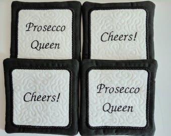 Prosecco embroidered coasters