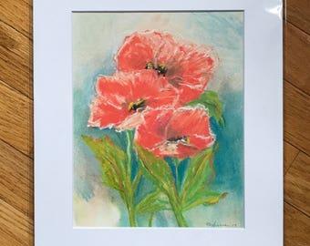 Poppy flower, original drawing, original poppy art, pastel drawing, floral original art, flower artwork, small artwork, floral illustration,