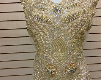 Designer Full body Rhinestone Applique, Beaded Wedding Dress Applique. Swarovski Shine # 81196