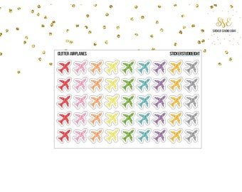 Multi Color Glitter: Airplanes