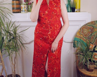 Light My Fire Red Vintage c. 1960's 1970's Psychedelic Full Length Maxi Evening Dress Keyhole