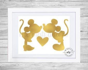 Mickey and Minnie Kiss JPEG, Valentines Decor, Love Decor, Disney Love, Mouse Kiss, Office Decor, Wall Art Printable