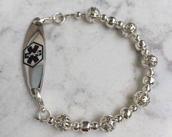 Single strand Interchangeable medical ID bracelet with silver plated beads