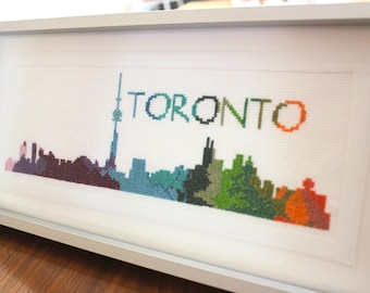 Framed TORONTO Cross Stitched, Embroidery TORONTO