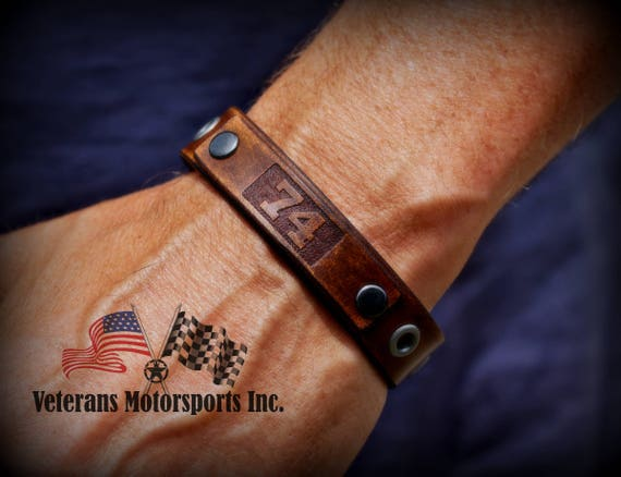 Veterans Motorsports Inc. Leather Bracelet