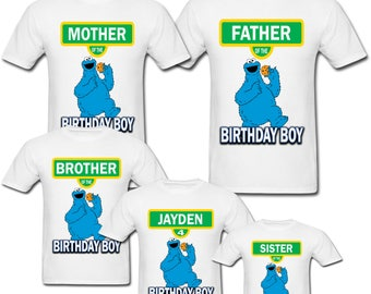 Personalized Cookie Monster Sesame Street Birthday shirt for Family