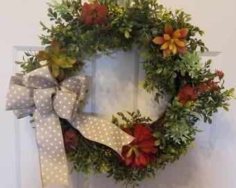 Faux succulent wreath/ summer wreath/ spring wreath/ front door wreath/ holiday wreath/ housewarming wreath