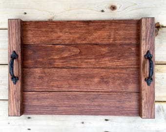 READY TO SHIP **Rustic Wooden Serving Tray, Farmhouse Home Decor, Rustic Ottoman Tray