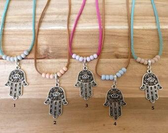Hamsa necklace, necklace suedelace, yoga necklace