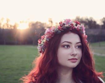 Fall flower crown, boho flower crown, eucalyptus crown, pink flower crown, maternity crown, bridal flower crown, greenery crown