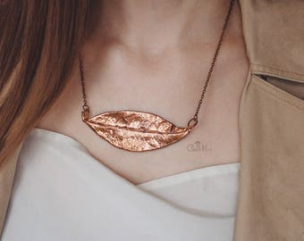 Leaf metal pendant Copper jewelry Autumn style Nature gift for her Fall fashion