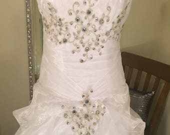 White Wedding dress, bridal gown, rhinestone wedding dress, beaded wedding gown, beach wedding gown, chapel gown