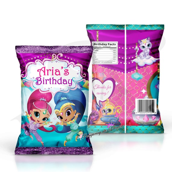 12 shimmer and shine favor bags custom chip bag shimmer and. Black Bedroom Furniture Sets. Home Design Ideas