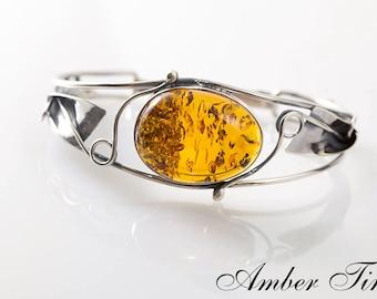 BB0207 Sterling Silver Ag 925 & Natural Baltic Amber Bracelet, Exclusive Amber Silver Bangle Bracelet, Hand Made