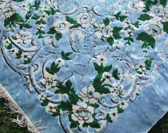 Velvet Italian bedspread Bedspread blue Velvet Bohemian wall tapestry King bedspread Antique Cherubs Roses Velvet Tapestry  Cottage Chic